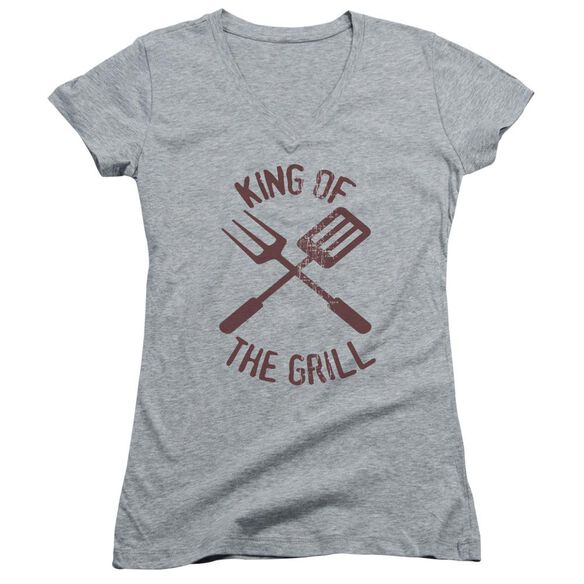 King Of The Grill - Junior V-neck - Athletic Heather