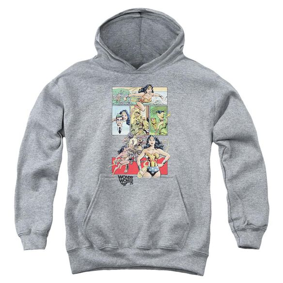 Wonder Woman Ww75 Comic Page Youth Pull Over Hoodie Athletic
