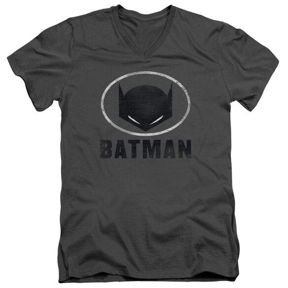 Batman Mask In Oval Short Sleeve Adult V Neck T-Shirt