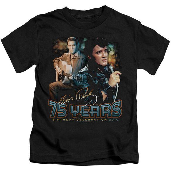 Elvis 75 Years Short Sleeve Juvenile Black T-Shirt