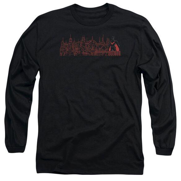 Batman Beyond Neo Gotham Skyline Long Sleeve Adult T-Shirt