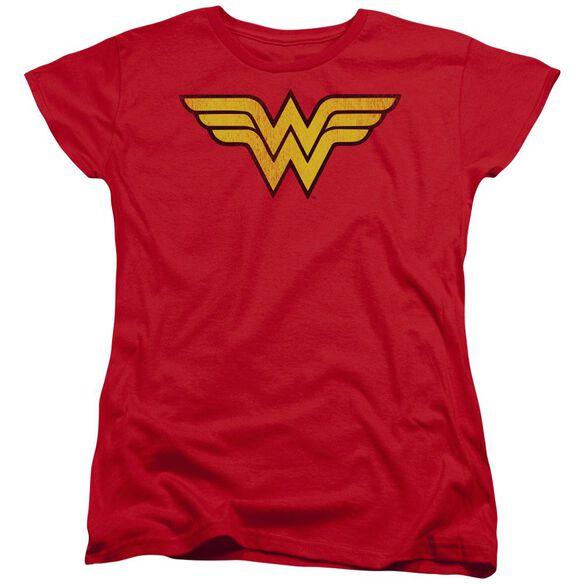 Dc Wonder Woman Logo Dist Short Sleeve Womens Tee T-Shirt
