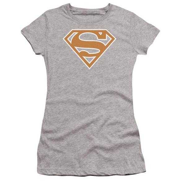 Superman Burnt Orange&White Shield Premium Bella Junior Sheer Jersey Athletic