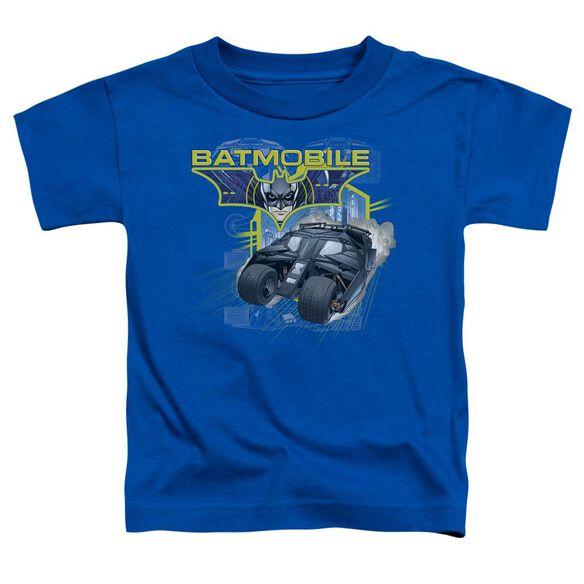 Dark Knight Batmobile Short Sleeve Toddler Tee Royal Blue T-Shirt