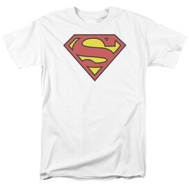 Superman Classic Logo Short Sleeve Adult White T-Shirt