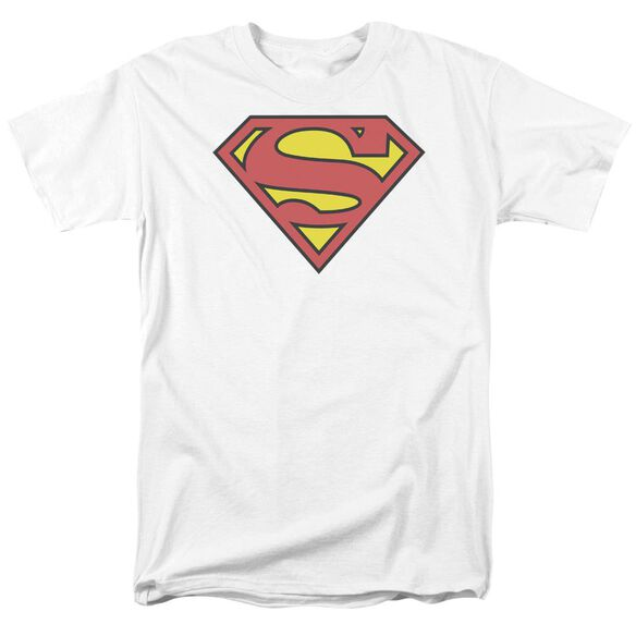 Superman Classic Logo Short Sleeve Adult White T-Shirt