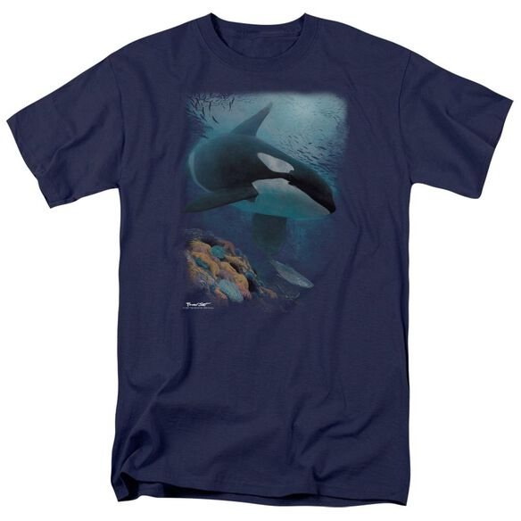 Wildlife Salmon Hunter Orca Short Sleeve Adult Navy T-Shirt