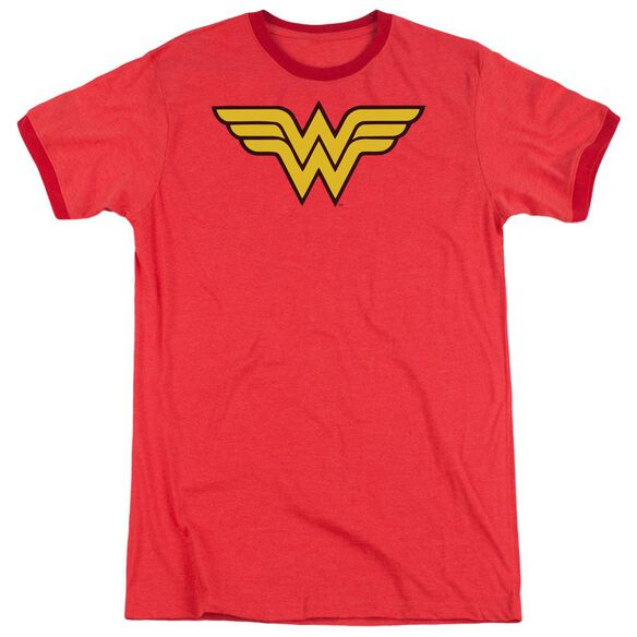 Dc Wonder Woman Logo Adult Heather Ringer Red