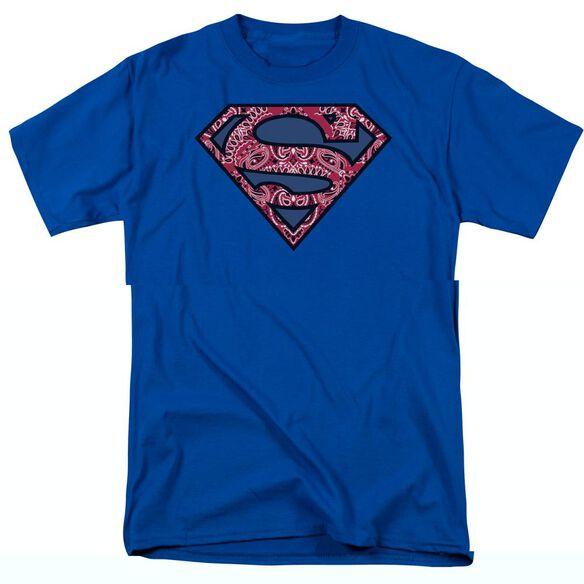 SUPERMAN PAISLEY SHIELD - S/S ADULT 18/1 - BLACK T-Shirt