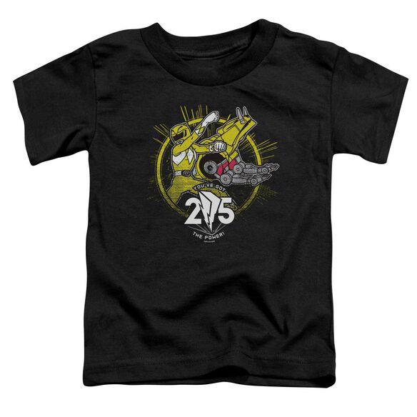 Power Rangers Yellow 25 Short Sleeve Toddler Tee Black T-Shirt