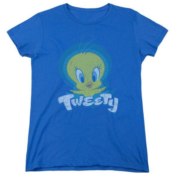 Looney Tunes Tweety Swirl Short Sleeve Womens Tee Royal T-Shirt