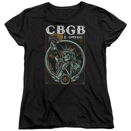 Cbgb Liberty Skull Short Sleeve Women's Tee Black T-Shirt