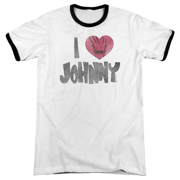 Johnny Bravo I Heart Johnny Adult Ringer White Black