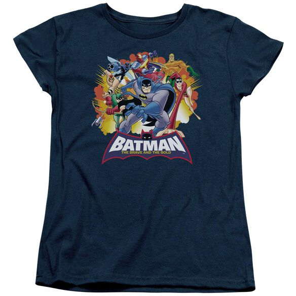 Batman Bb Explosive Heroes Short Sleeve Womens Tee Navy T-Shirt
