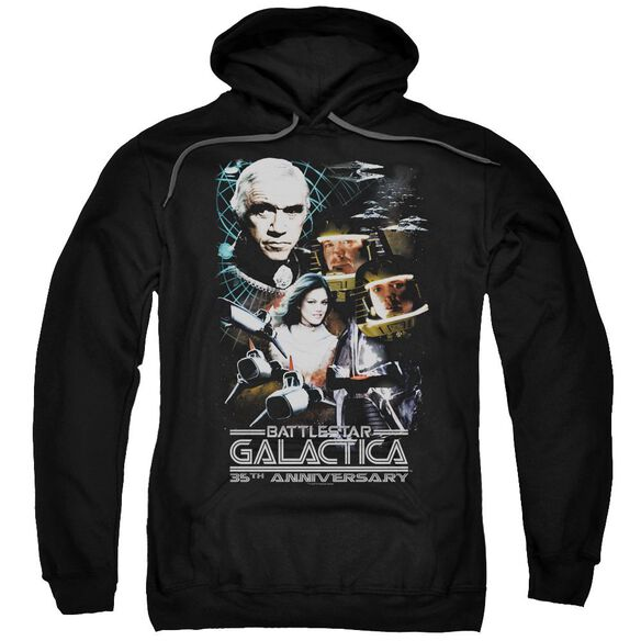 Bsg 35 Th Anniversary Collage Adult Pull Over Hoodie Black