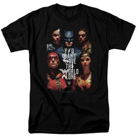 Justice League Movie Save The World Poster Short Sleeve Adult T-Shirt