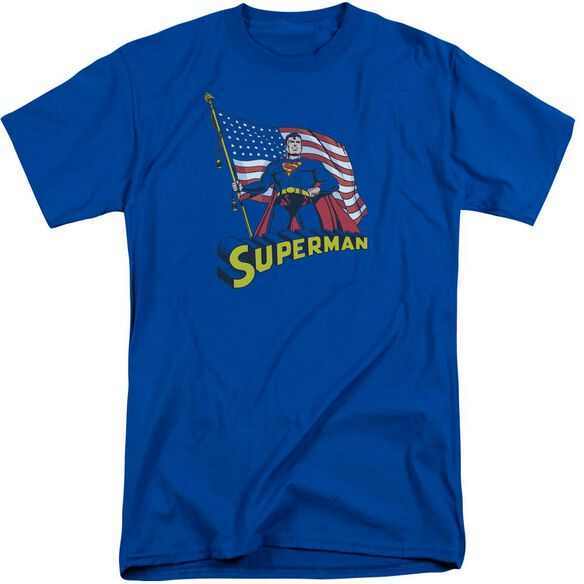 Superman American Flag Short Sleeve Adult Tall Royal T-Shirt