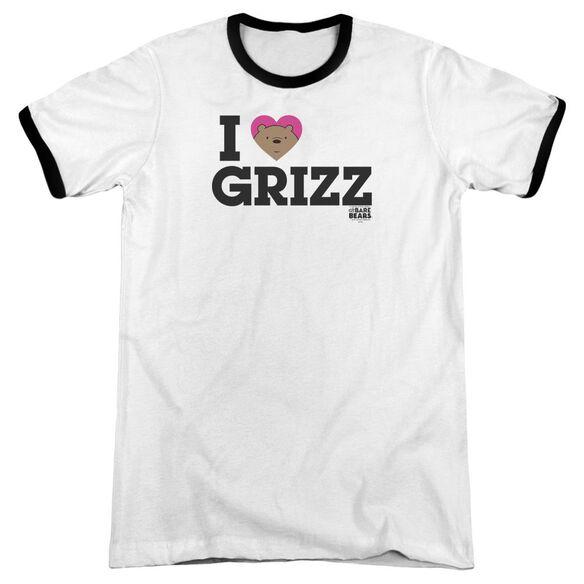 We Bare Bears Heart Grizz Adult Ringer White Black