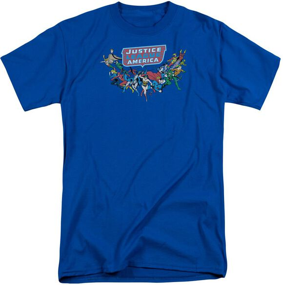 Dc Here They Come Short Sleeve Adult Tall Royal T-Shirt