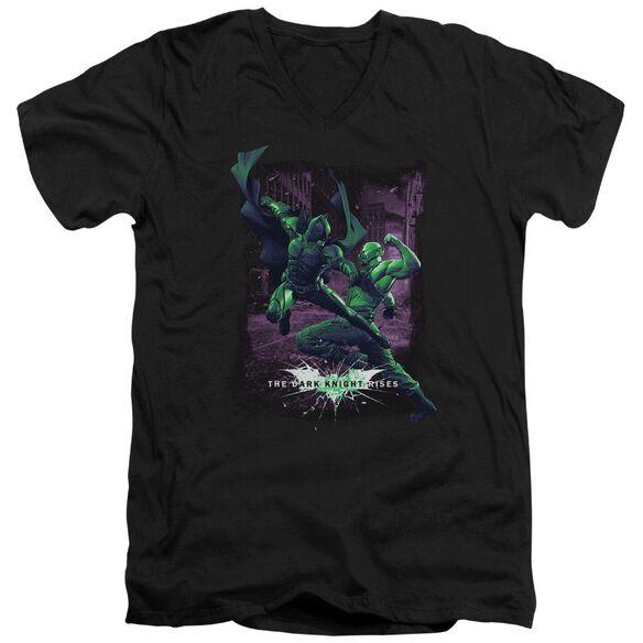 Dark Knight Rises Bat Vs Bane Short Sleeve Adult V Neck T-Shirt