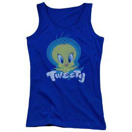 Looney Tunes Tweety Swirl Juniors Tank Top Royal