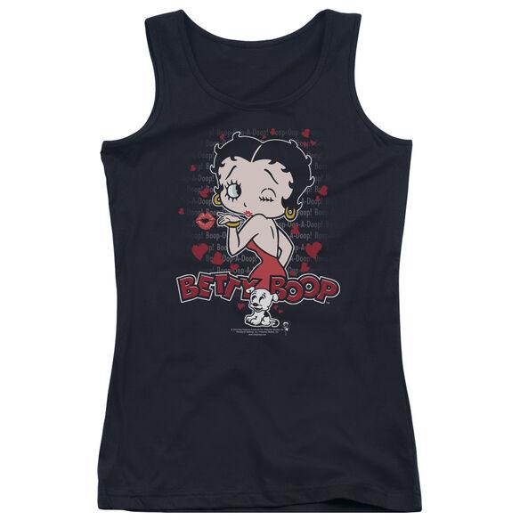 Betty Boop Classic Kiss - Juniors Tank Top - Black
