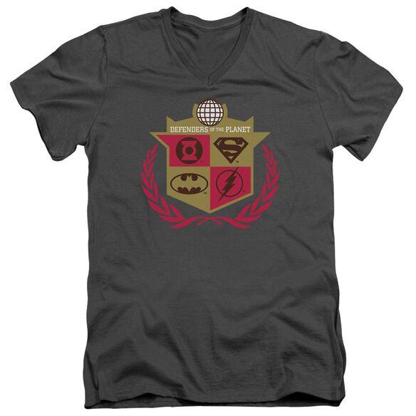 Jla Defenders Short Sleeve Adult V Neck T-Shirt