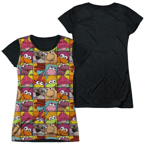 Fraggle Rock Character Squares Short Sleeve Junior Poly Black Back T-Shirt