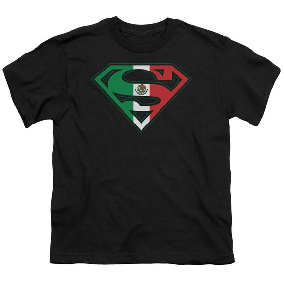 Superman Mexican Flag Shield Short Sleeve Youth T-Shirt