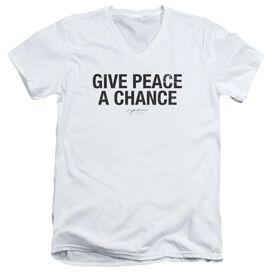 John Lennon Give Peace A Chance Short Sleeve Adult V Neck T-Shirt