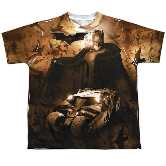 Batman Begins Batsmobile Short Sleeve Youth Poly Crew T-Shirt