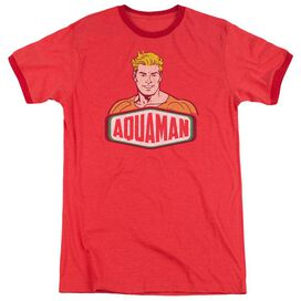 Dco Aquaman Sign Adult Heather Ringer Red