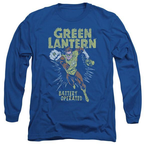 Green Lantern Fully Charged Long Sleeve Adult Royal T-Shirt