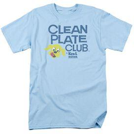 Ken L Ration Clean Plate Short Sleeve Adult Light Blue T-Shirt