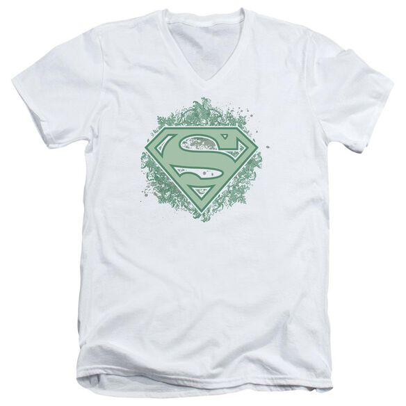 Superman Ornate Shield Short Sleeve Adult V Neck T-Shirt