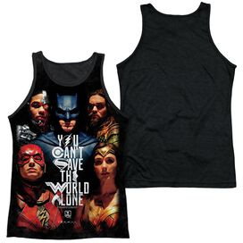 Justice League Movie Save The World Poster Adult Poly Tank Top Black Back
