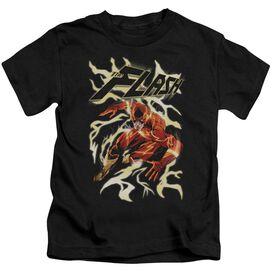Jla Electric Run Short Sleeve Juvenile Black T-Shirt