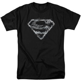 Superman Smoking Shield Short Sleeve Adult Black T-Shirt
