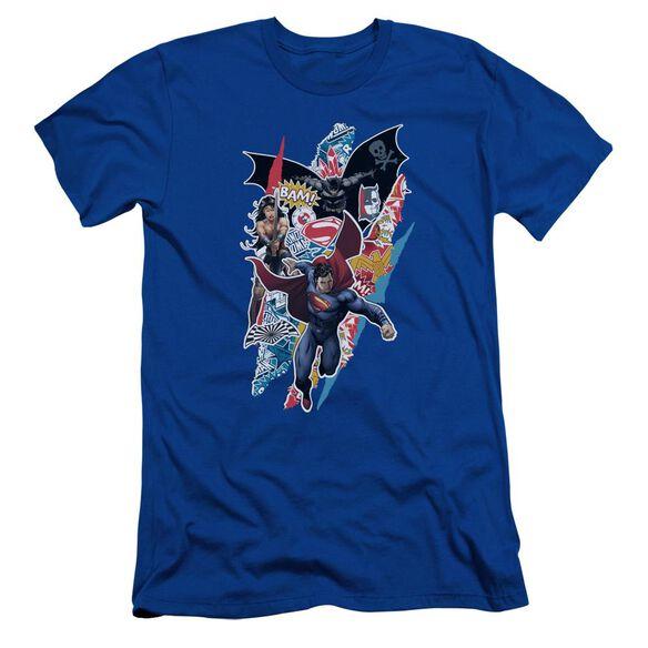 Batman V Superman Ripped Trio Short Sleeve Adult Royal T-Shirt