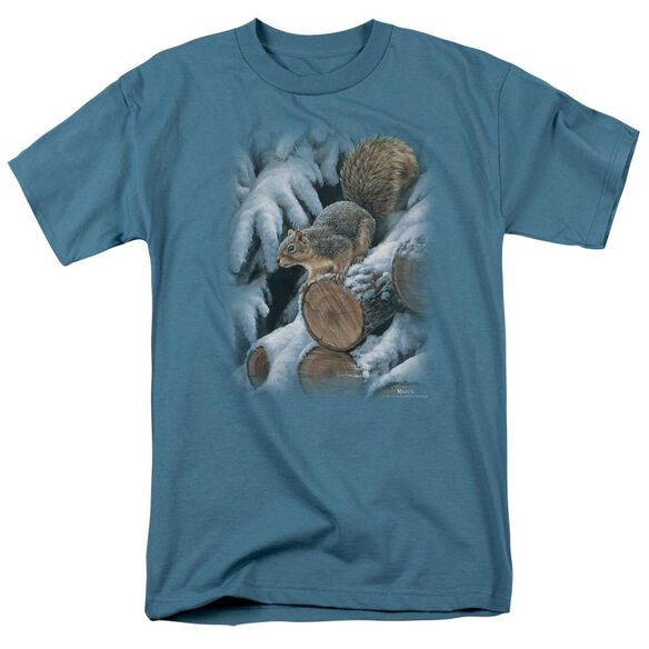 Wildlife Wood Pile Squirrel Short Sleeve Adult Slate T-Shirt