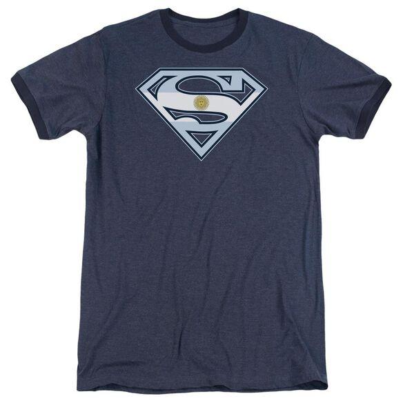 Superman Argentinian Shield - Adult Heather Ringer - Navy