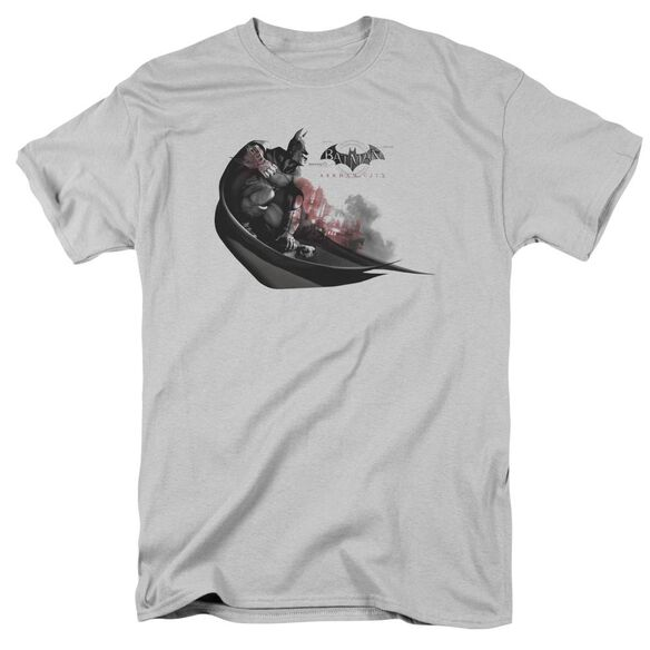Arkham City Ready To Pounce Short Sleeve Adult Silver T-Shirt