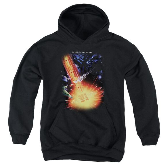 Star Trek Undiscovered Cntry(Movie)-youth Pull-over Hoodie - Black