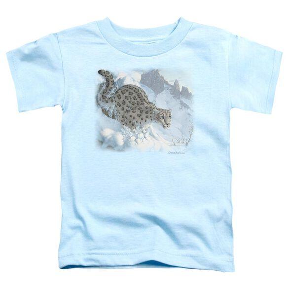 Wildlife Snow Leopard Short Sleeve Toddler Tee Light Blue T-Shirt
