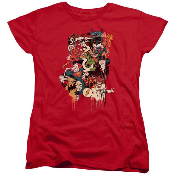 Dc Dripping Characters Short Sleeve Womens Tee T-Shirt
