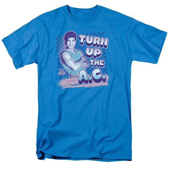 Saved By The Bell Turn Up The Ac Short Sleeve Adult Turquoise T-Shirt