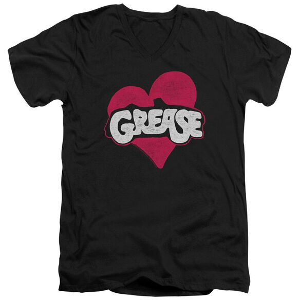 Grease Heart Short Sleeve Adult V Neck T-Shirt