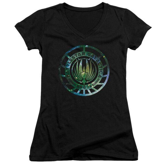 Battlestar Galactica (New) Galaxy Emblem Junior V Neck T-Shirt