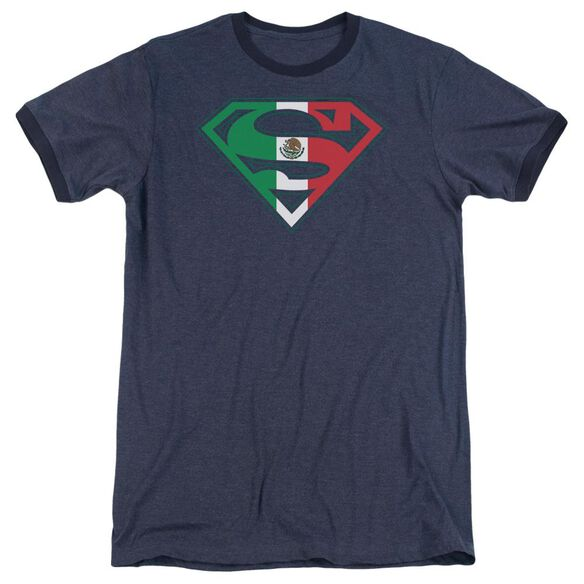 Superman Mexican Shield Adult Heather Ringer Navy