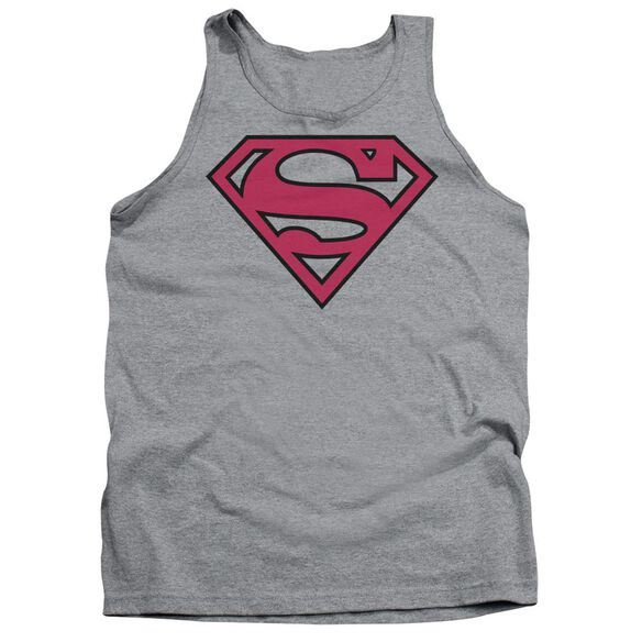 Superman Red & Black Shield - Adult Tank - Athletic Heather